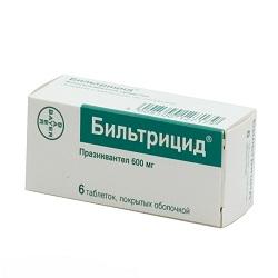 Таблетки Бильтрицид 600 мг