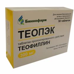 Таблетки пролонгированного действия Теопэк 300 мг