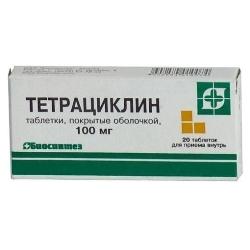 Таблетки, покрытые пленочной оболочкой, Тетрациклин